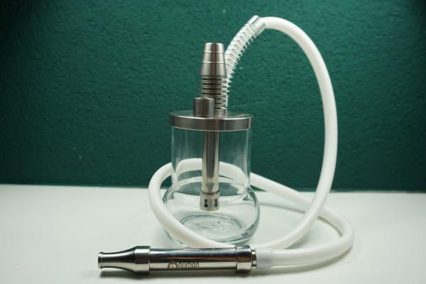 Oduman Micro Reise-Shisha  Elegantes Set   Glasbowl mit hölzernen Edelstahl Rauchsäule   Premiumqualität   1,5m Silikonschlauch   Schneller Versand