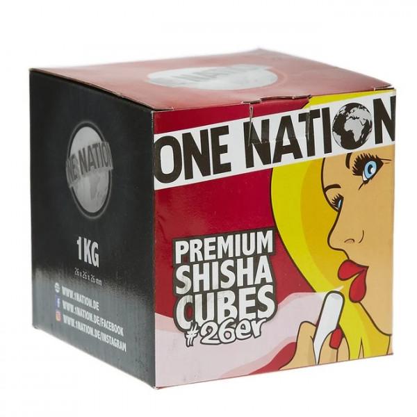 One Nation Kohle 1kg | Brennt bis zu 100min | Aus Kokos | Premiumqualität | Naturkohle | Schneller Versand