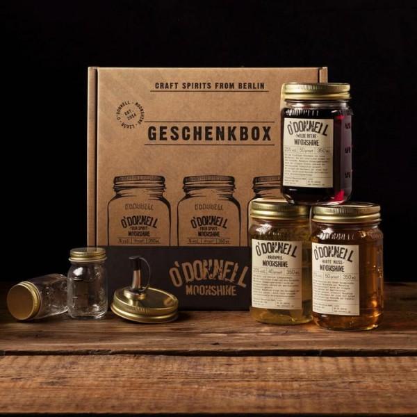 Moonshine Geschenkbox 3x350ml inkl. Ausgießer und 2x Shotgläser